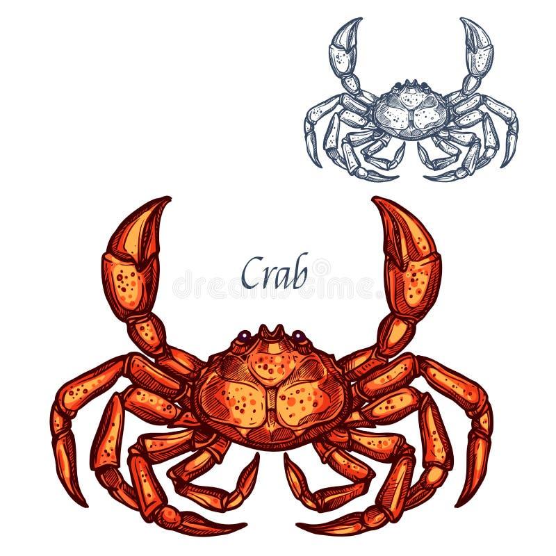 Значок эскиза морепродуктов омара краба изолированный вектором иллюстрация вектора