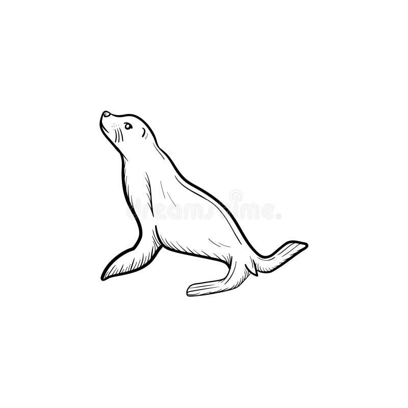 Значок эскиза морского котика нарисованный рукой бесплатная иллюстрация