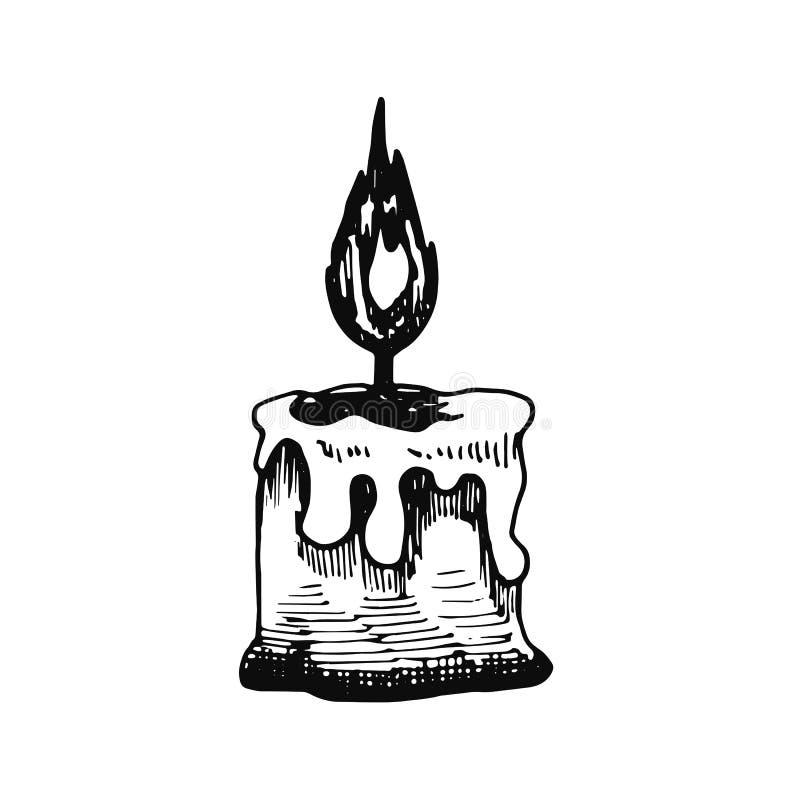 Значок эскиза свечи Изолированный предмет бесплатная иллюстрация