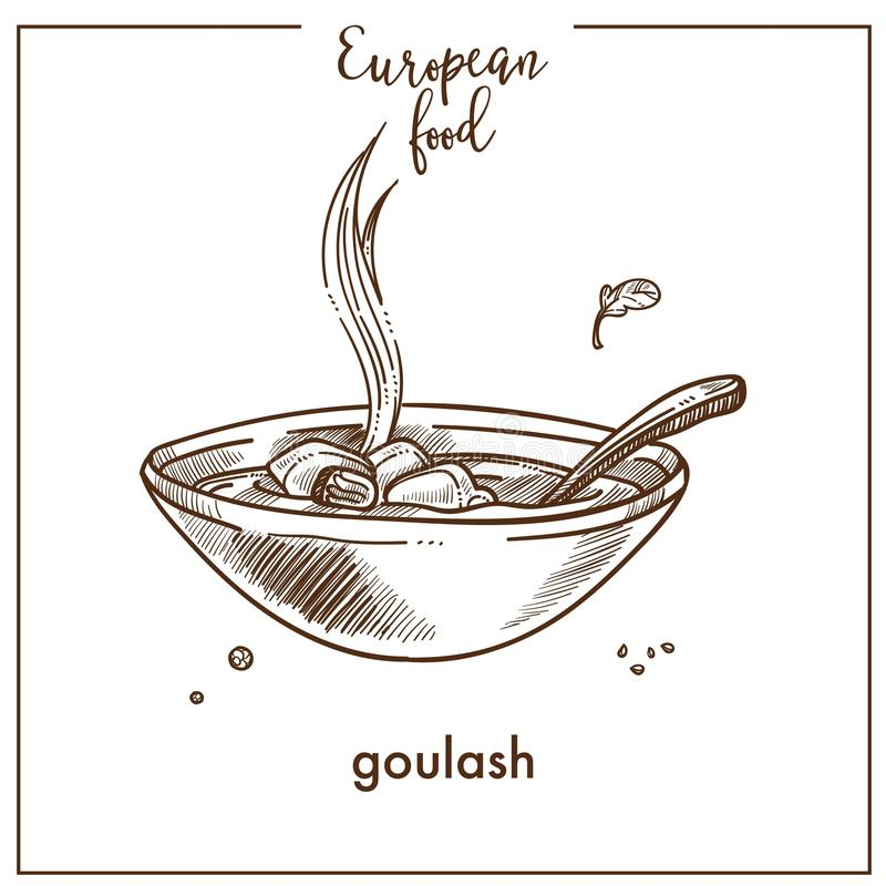 Значок эскиза супа гуляша для европейского венгерского дизайна меню кухни ood иллюстрация вектора