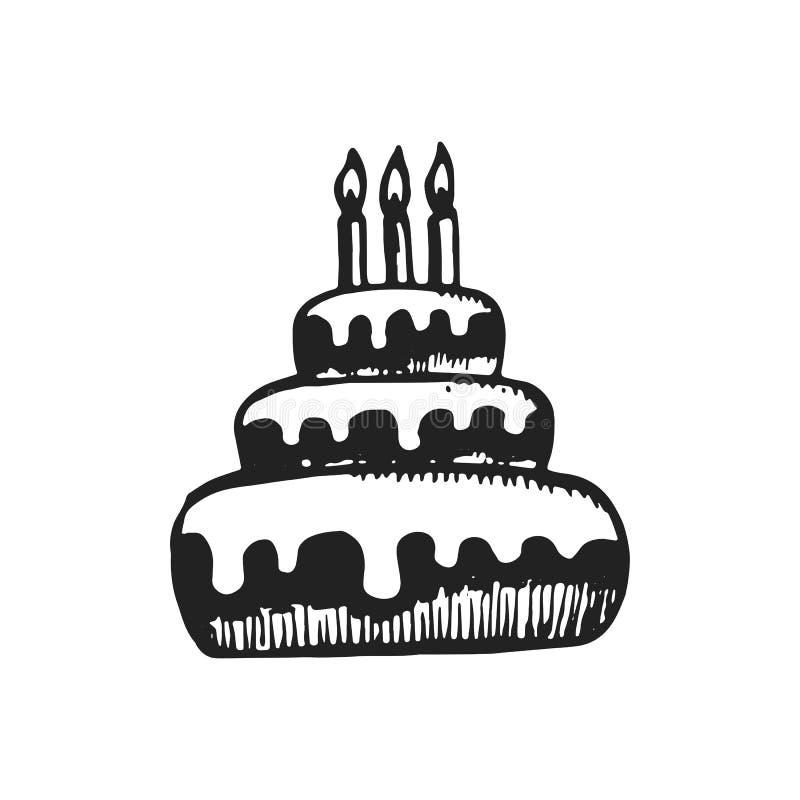 Значок эскиза торта изолированный вектором объект на белой предпосылке dra иллюстрация штока