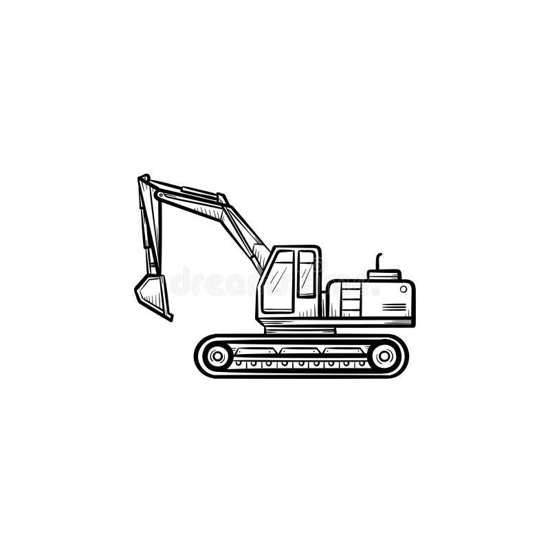 Значок эскиза экскаватора нарисованный рукой иллюстрация штока