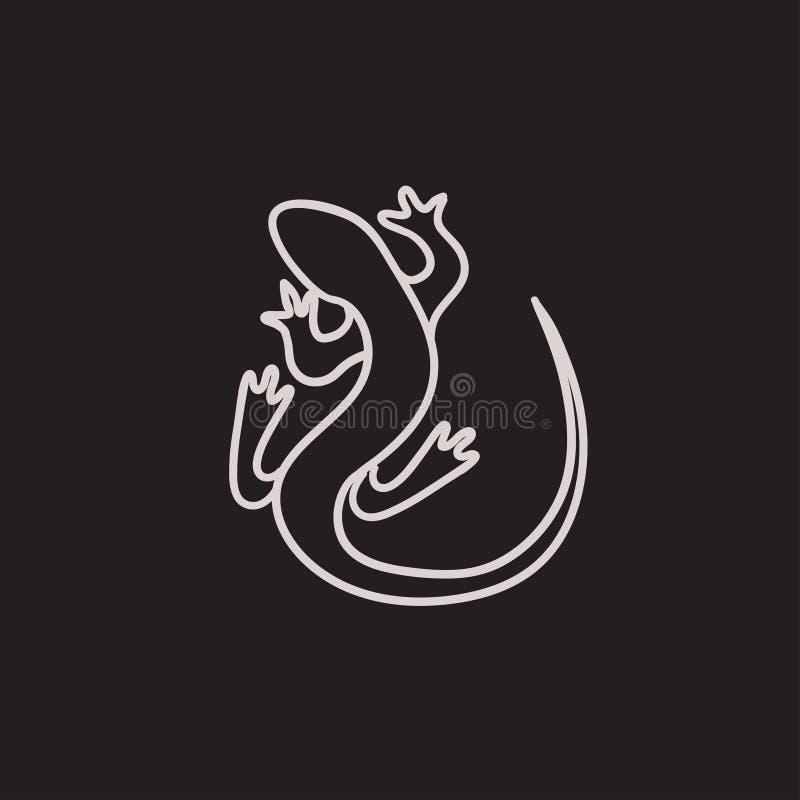 Значок эскиза ящерицы бесплатная иллюстрация