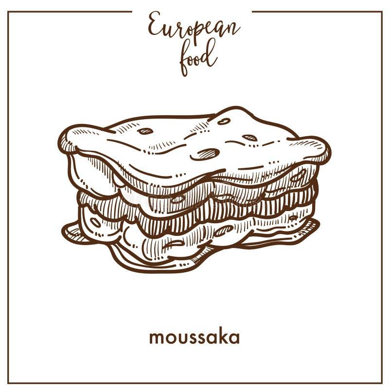 Значок эскиза Moussaka для европейского среднеземноморского дизайна меню кухни еды иллюстрация вектора