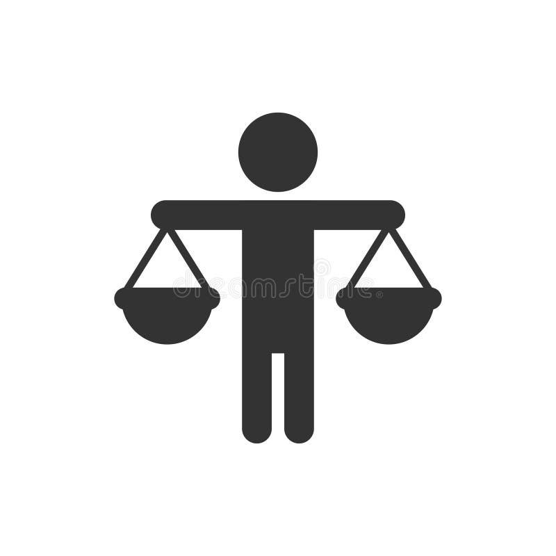 Значок этического баланса в плоском стиле Рисунок вектора честности на изолированном фоне бизнес-концепция решения иллюстрация вектора