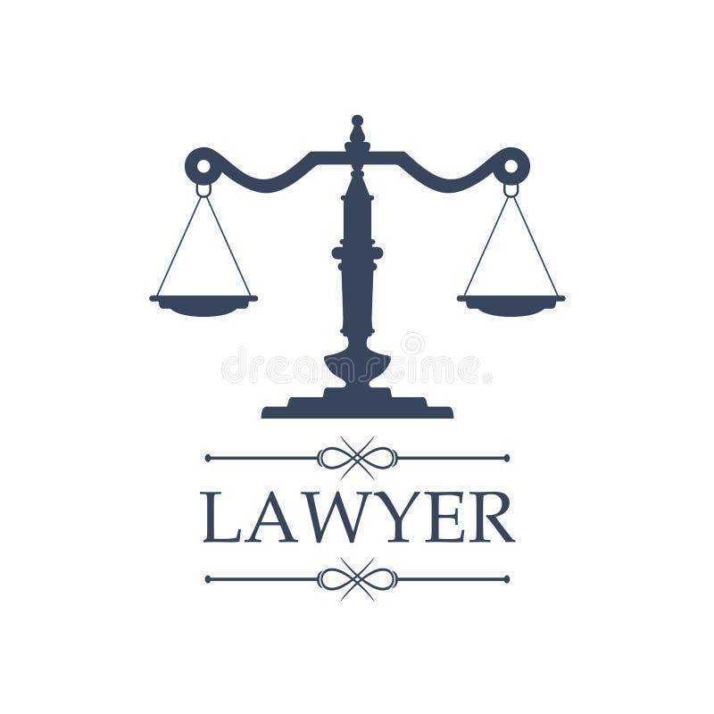Значок юриста правосудия вычисляет по маcштабу эмблему вектора иллюстрация вектора