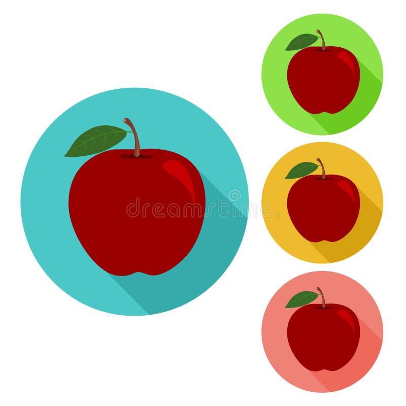 Значок Яблока плоский значок яблока иллюстрация штока