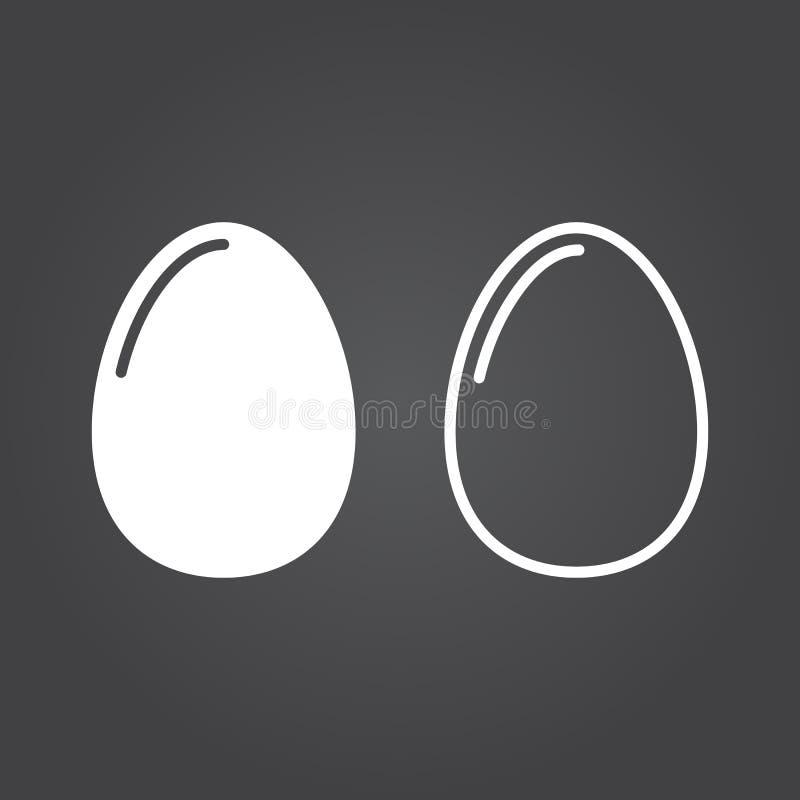Значок яичка Версии твердого тела и плана Белые значки на задней части темноты бесплатная иллюстрация