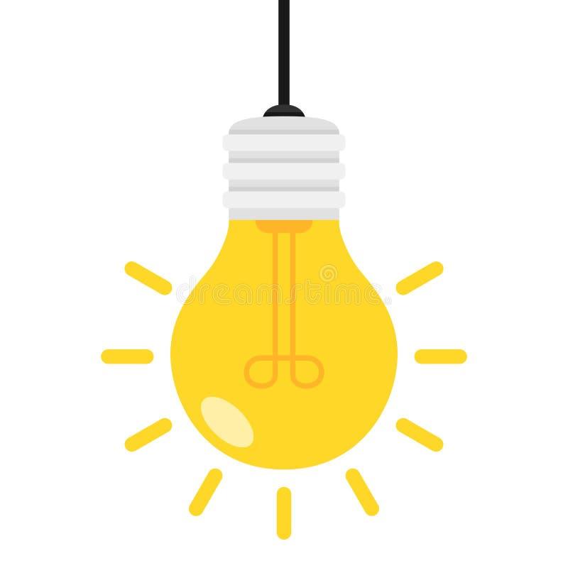 Значок яркой электрической лампочки плоский изолированный на белизне иллюстрация вектора