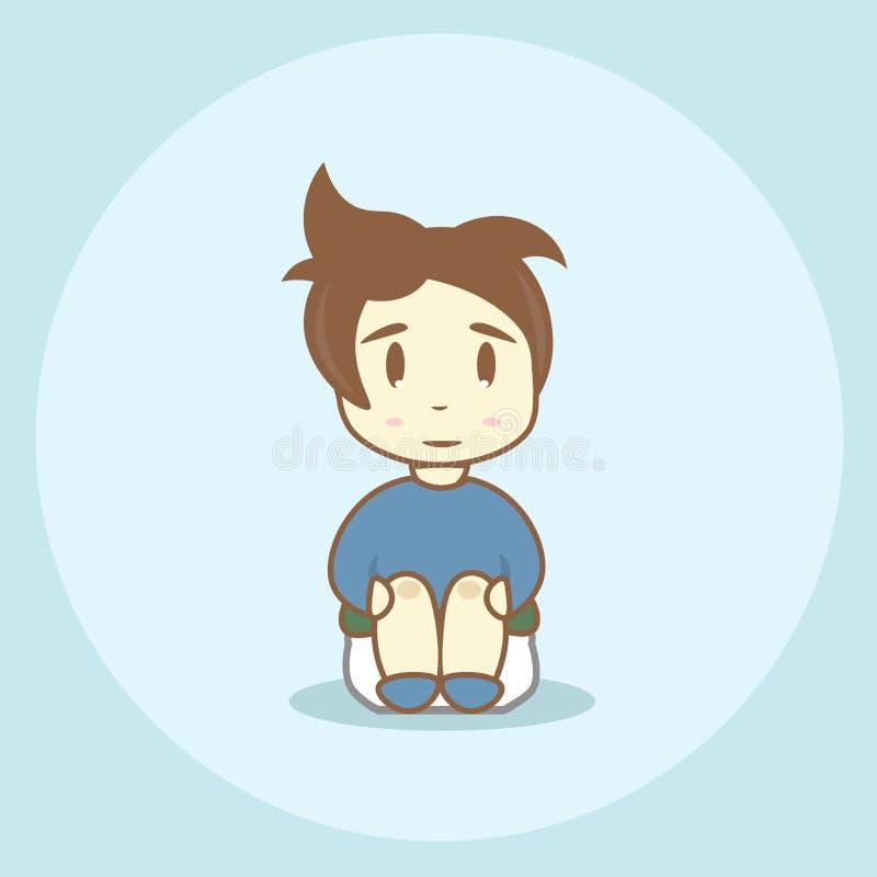 Значок для туалета: мальчик сидя на баке бесплатная иллюстрация