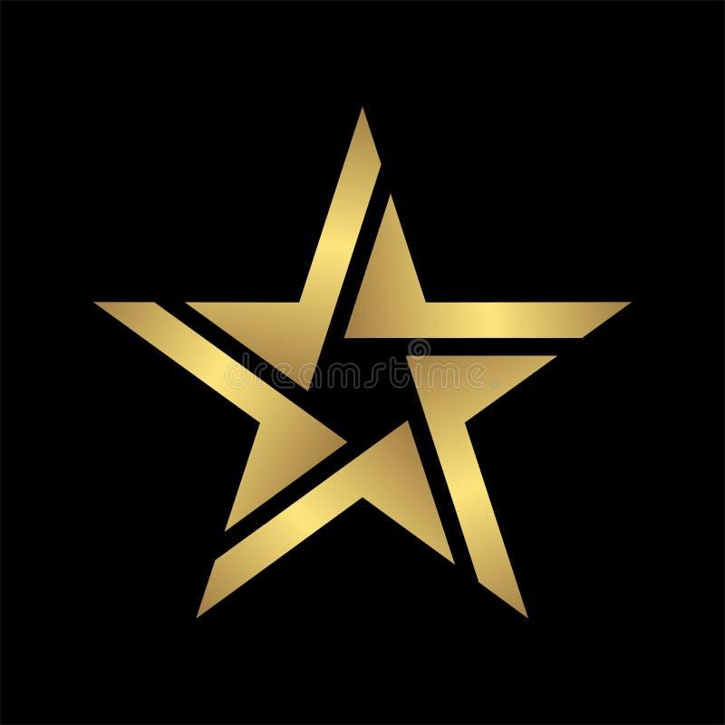Значок Aabstract элегантный и современный стиля золота звезды логотипа в черноте, файле eps 10 иллюстрация штока