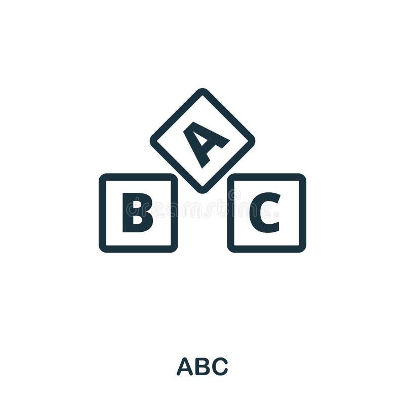 Значок ABC Линия дизайн значка стиля Ui Иллюстрация значка abc пиктограмма изолированная на белизне Подготавливайте для использов бесплатная иллюстрация