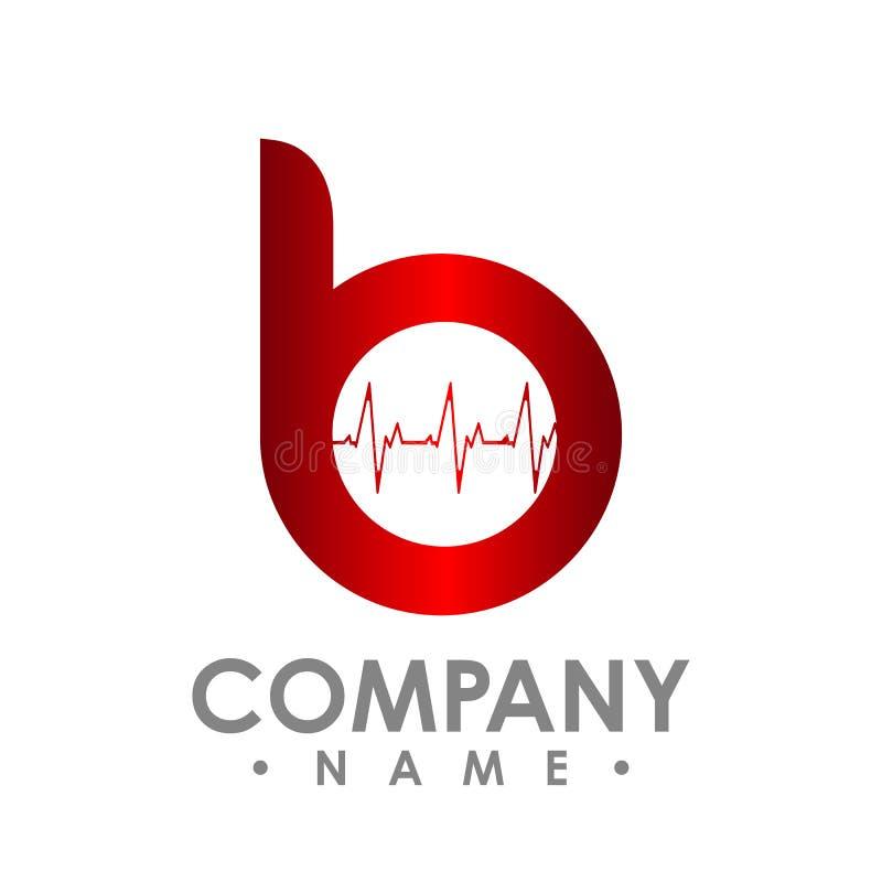 Значок b письма Логотип, компьютер и данные по технологии умные связали иллюстрация вектора