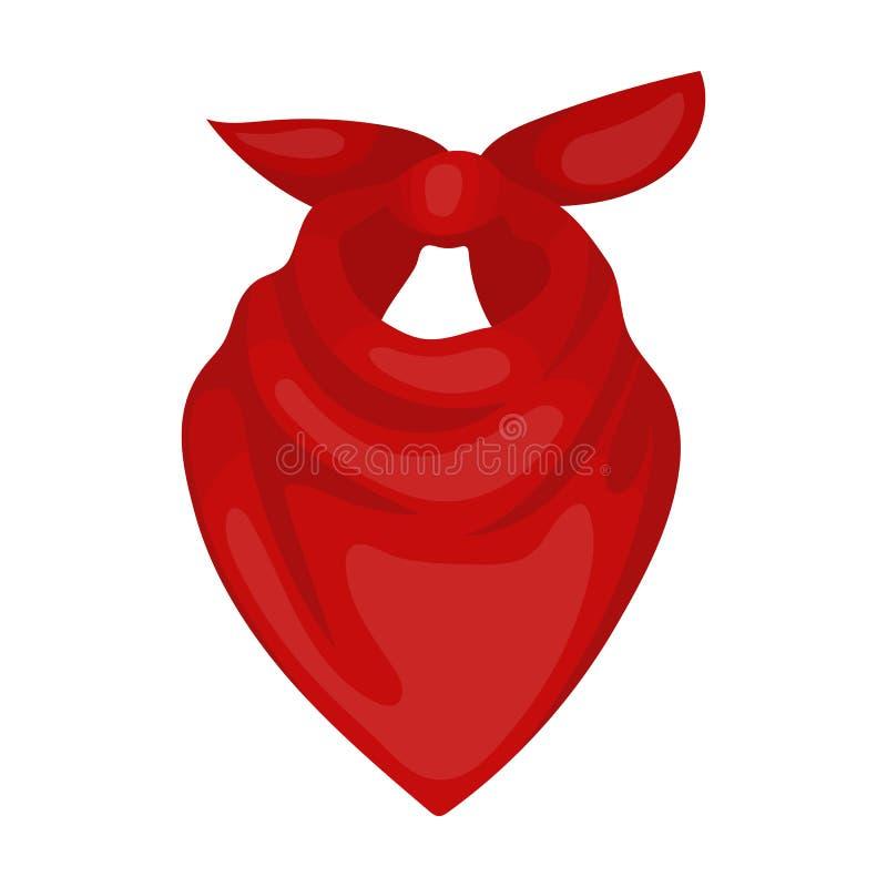 Значок bandana ковбоя в стиле шаржа изолированный на белой предпосылке Иллюстрация вектора запаса символа родео иллюстрация штока
