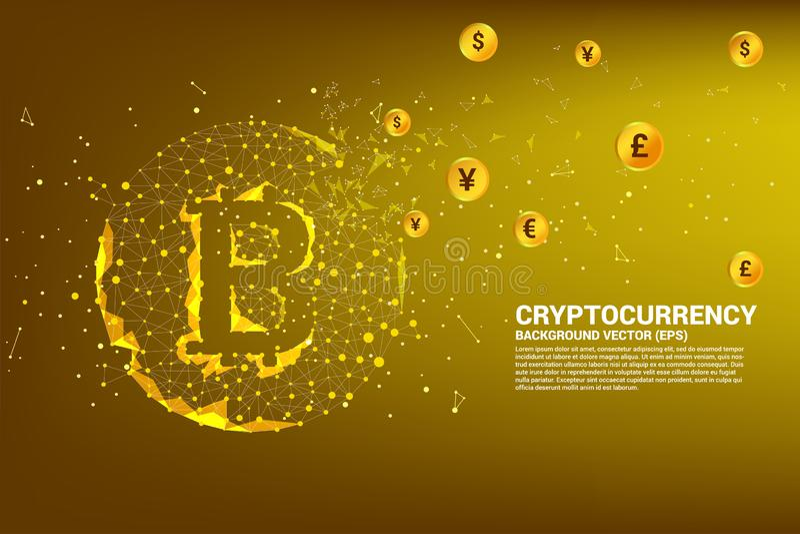 Значок bitcoin вектора от точки полигона соединяет линию с международной валютой иллюстрация штока
