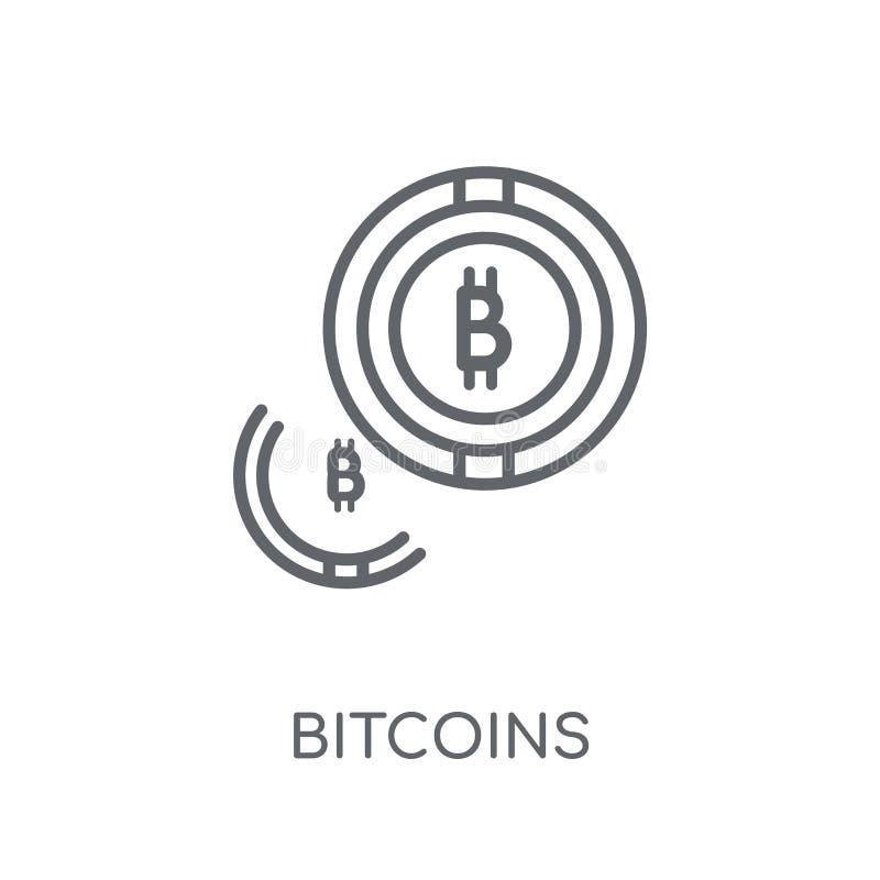 Значок Bitcoins линейный Современная концепция логотипа Bitcoins плана на wh иллюстрация штока