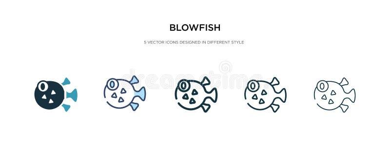 Значок Blowfish на рисунке вектора другого стиля две цветные и черные векторные иконки, созданные в форме заливки, контура, иллюстрация штока