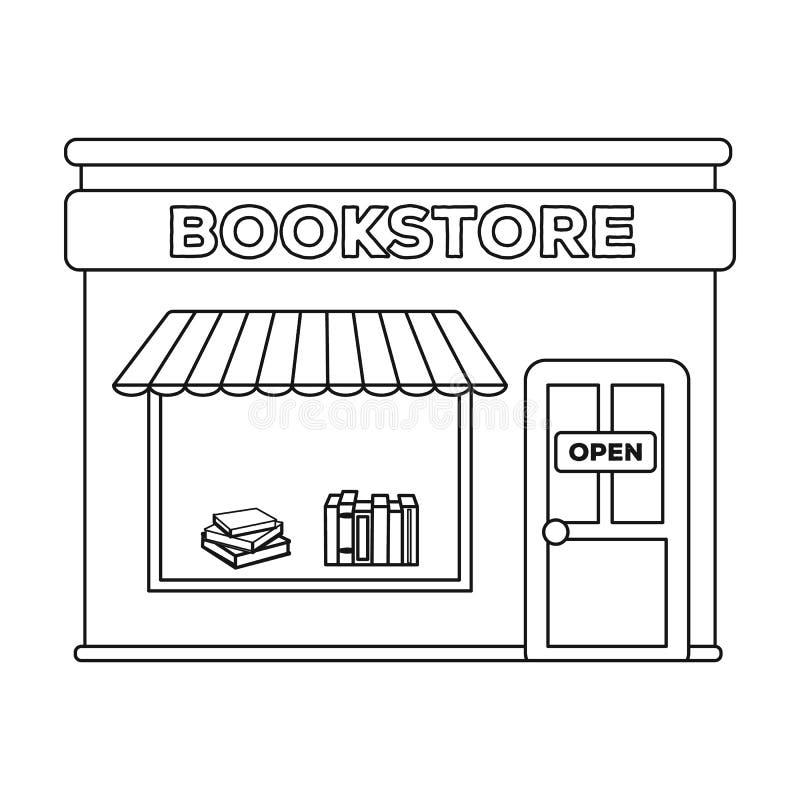 Значок Bookstore в стиле плана изолированный на белой предпосылке Иллюстрация вектора запаса символа библиотеки и bookstore иллюстрация вектора