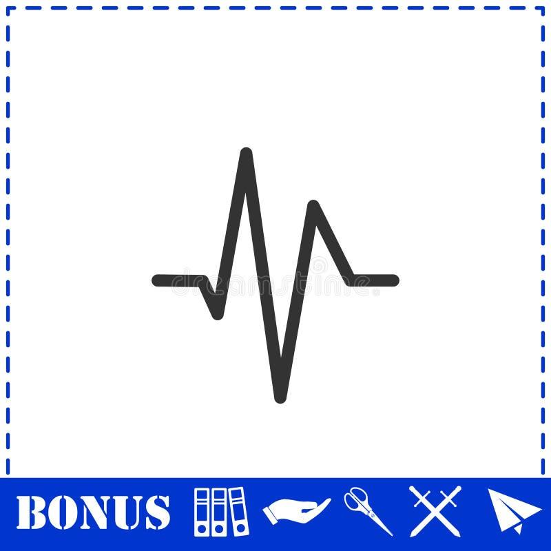 Значок cardiogram сердцебиения плоско иллюстрация штока