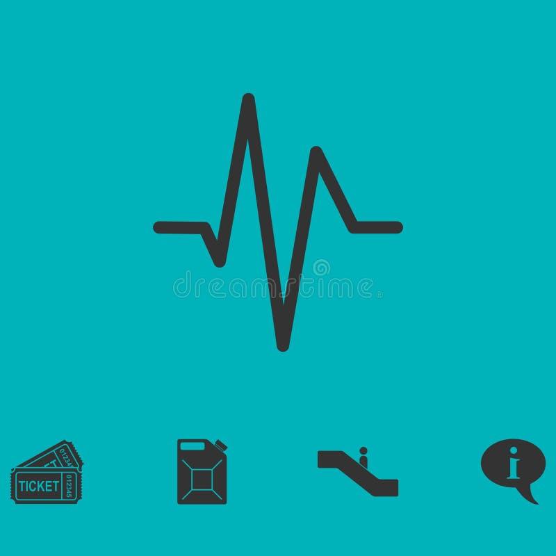 Значок cardiogram сердцебиения плоско иллюстрация вектора