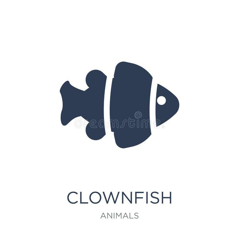 Значок Clownfish Ультрамодный плоский значок Clownfish вектора на белом backg иллюстрация штока