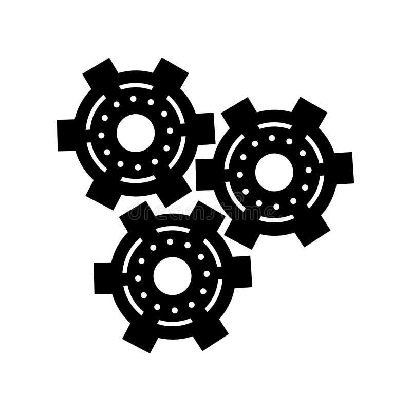 Значок cog двигателя колеса шестерни силуэта установленный иллюстрация штока