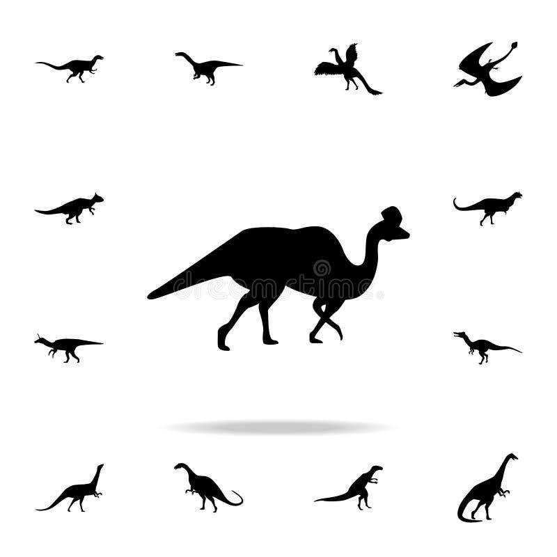 Значок Corythosaurus Детальный набор значков динозавра Наградной графический дизайн Один из значков собрания для вебсайтов, веб-д иллюстрация вектора