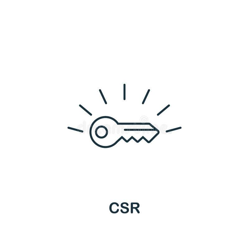 Значок CSR Тонкая линия символ дизайна от собрания значков деловой этики Значок csr пиксела идеальный для веб-дизайна, приложений иллюстрация штока