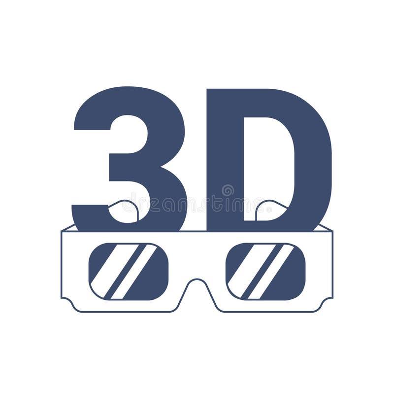 Значок 3D и стекла на белой предпосылке иллюстрация вектора