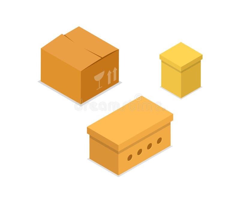 Значок 3D картонных коробок равновеликий бесплатная иллюстрация