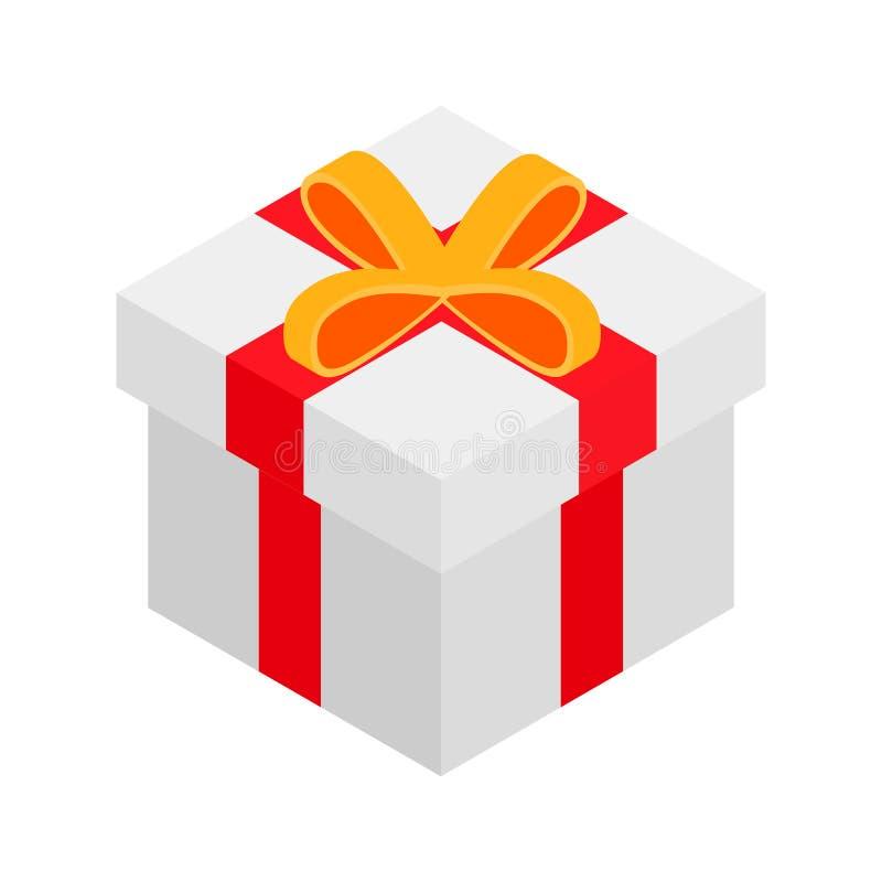 Значок 3d подарочной коробки равновеликий иллюстрация штока