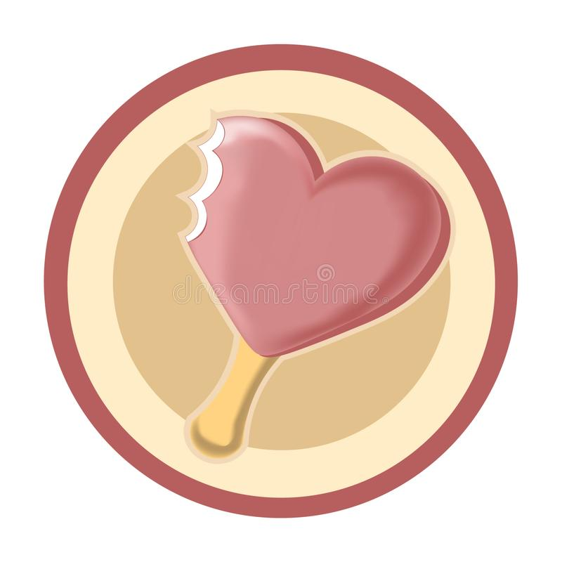 значок 3D розового мороженого сердца стоковая фотография