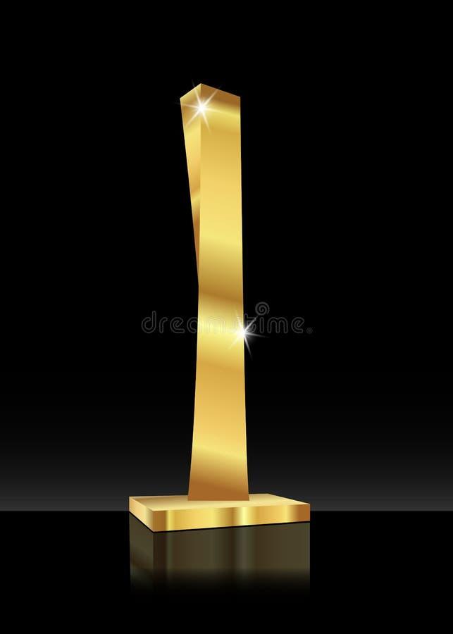 Значок 3D сияющего конспекта трофея золотой Небоскреб покрашенный золотом Приз спорт или иллюстрация наград дела, бесплатная иллюстрация