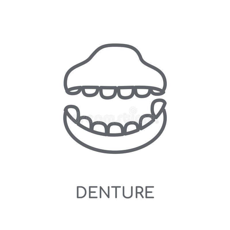 Значок Denture линейный Современная концепция логотипа Denture плана на whit бесплатная иллюстрация