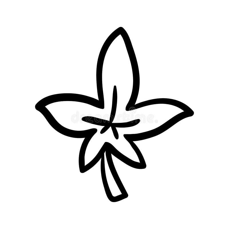 Значок doodle лист руки вычерченный Эскиз нарисованный рукой черный символ знака Элемент украшения Белая предпосылка изолировано  иллюстрация штока