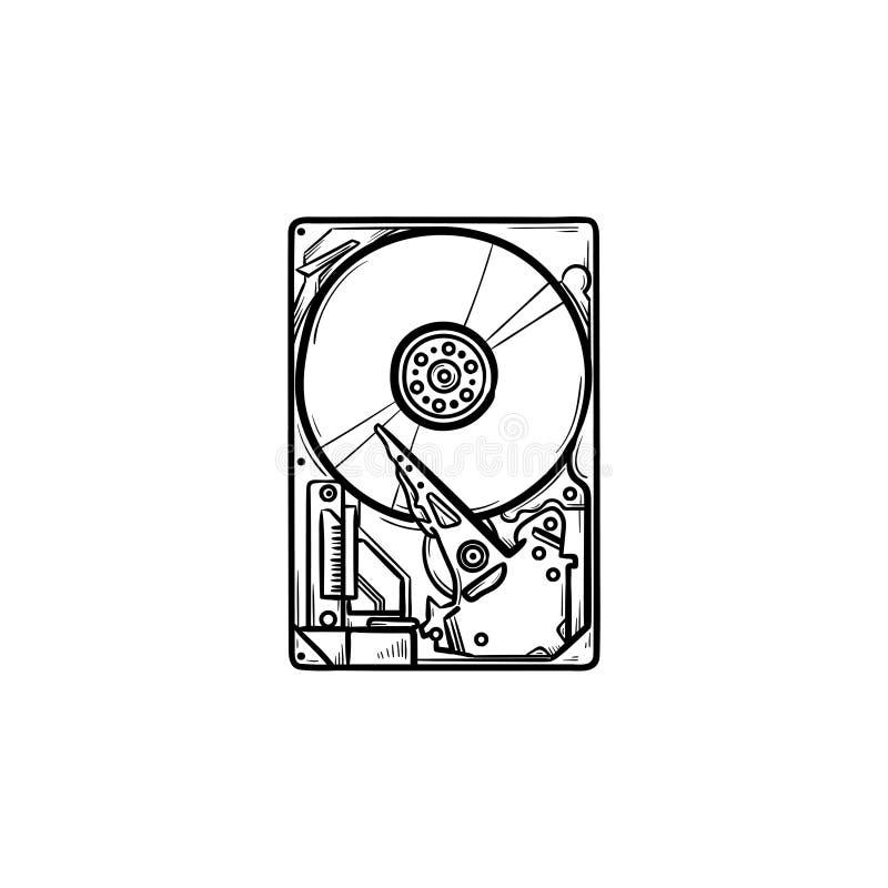 Значок doodle плана жесткого диска нарисованный рукой иллюстрация вектора
