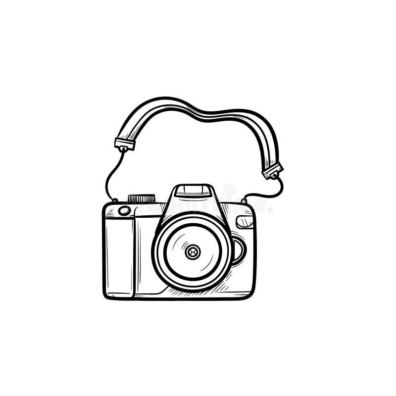 Значок doodle плана камеры фото нарисованный рукой иллюстрация вектора