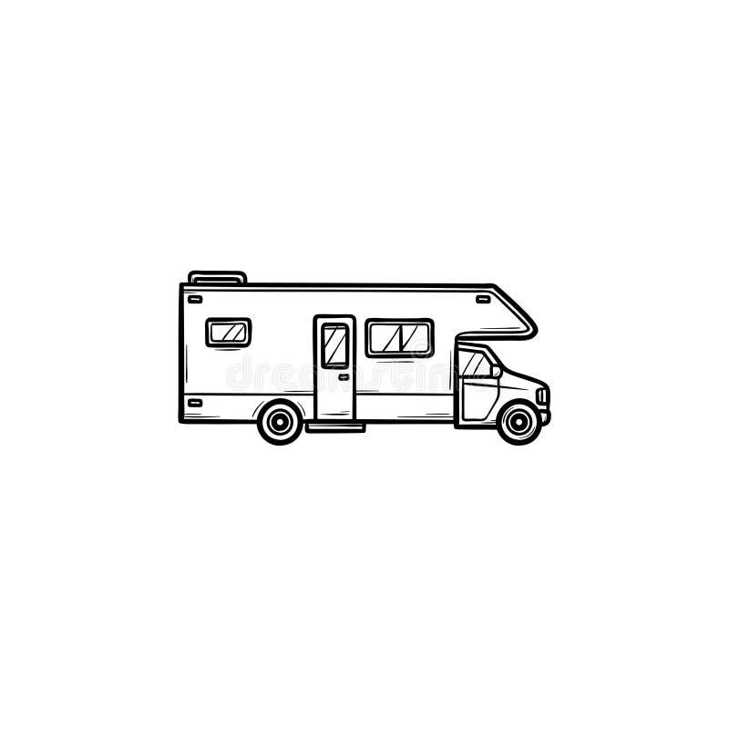 Значок doodle плана руки транспорта для отдыха вычерченный иллюстрация вектора
