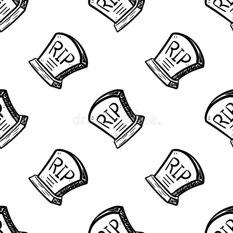 Значок doodle Handdrawn безшовной картины серьезный Эскиз руки вычерченный черный Символ мультфильма знака r o иллюстрация вектора