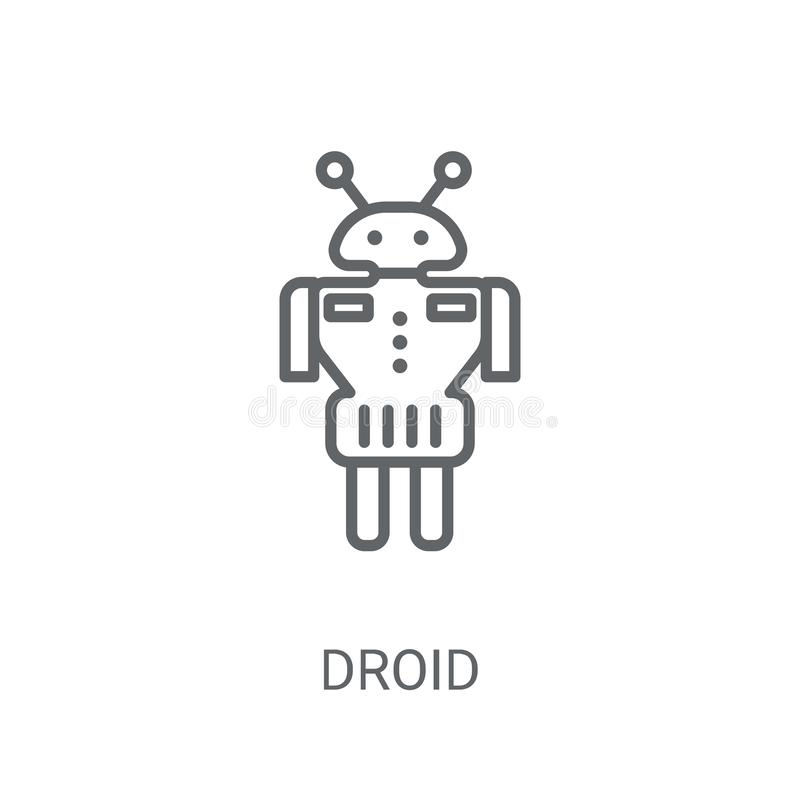 Значок Droid Ультрамодная концепция логотипа Droid на белой предпосылке от s иллюстрация штока