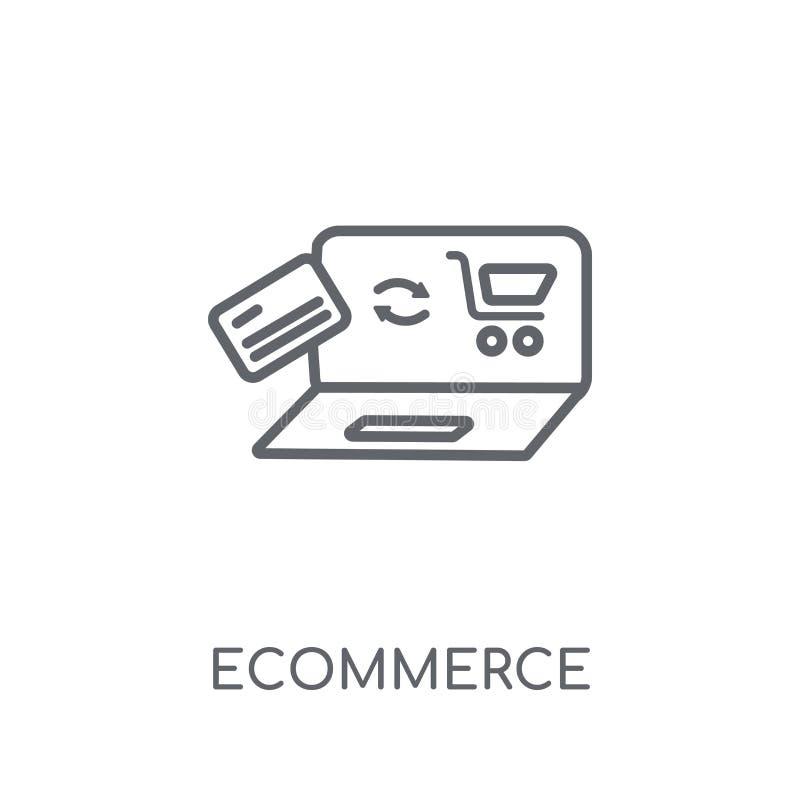 Значок Ecommerce линейный Современная концепция логотипа Ecommerce плана дальше бесплатная иллюстрация