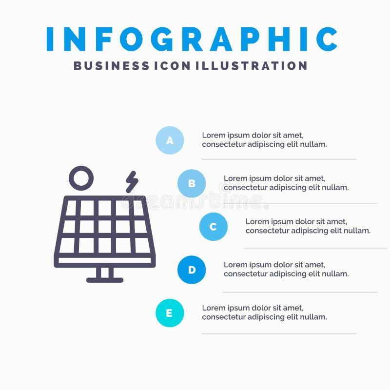 Значок Energy, Environment, Green, Solar Line с 5-ступенчатой инфографикой презентации бесплатная иллюстрация