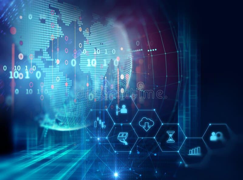 Значок Fintech на абстрактной финансовой предпосылке технологии иллюстрация штока