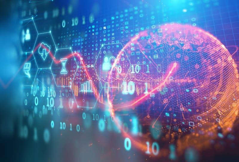 Значок Fintech на абстрактной финансовой предпосылке технологии стоковые изображения