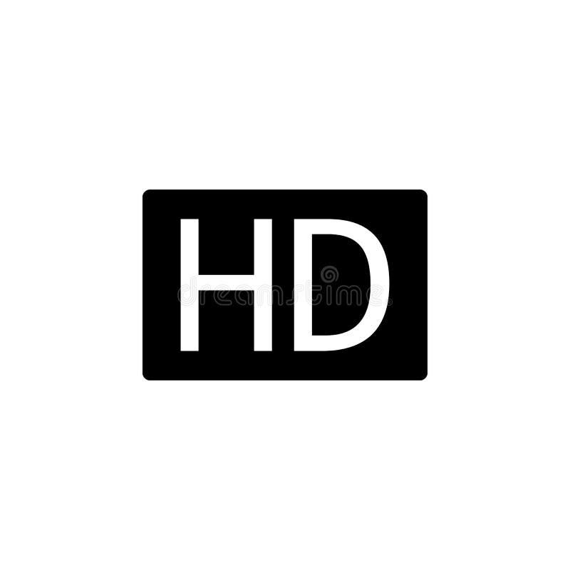 Значок HD, вектор значка HD, в ультрамодном плоском стиле изолированный на белой предпосылке Изображение значка HD, иллюстрация з иллюстрация штока