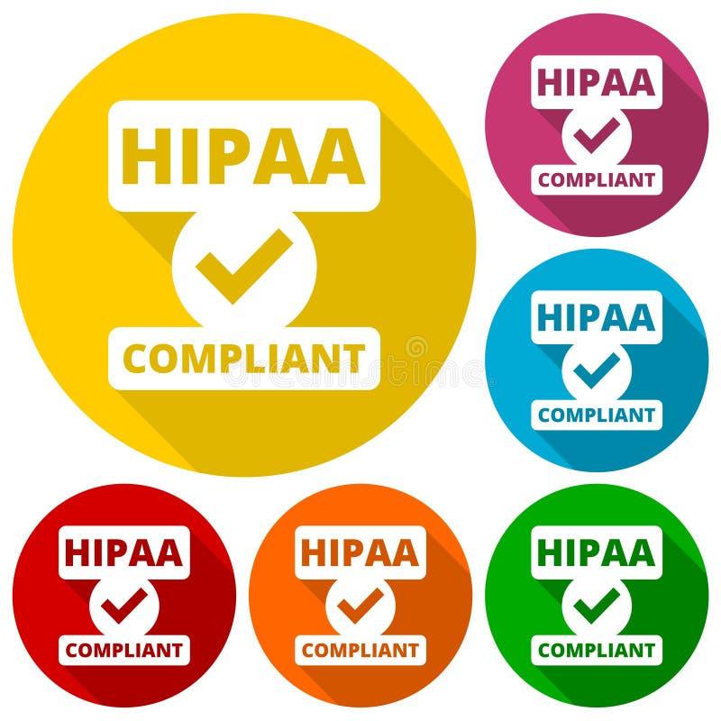 Значок HIPAA - значки поступка удобоносимости и отчетности медицинской страховки иллюстрация вектора
