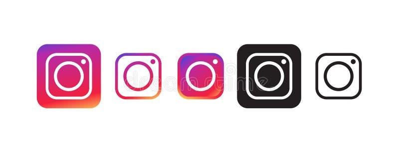 Значок Instagram в немногих различных цветах иллюстрация штока