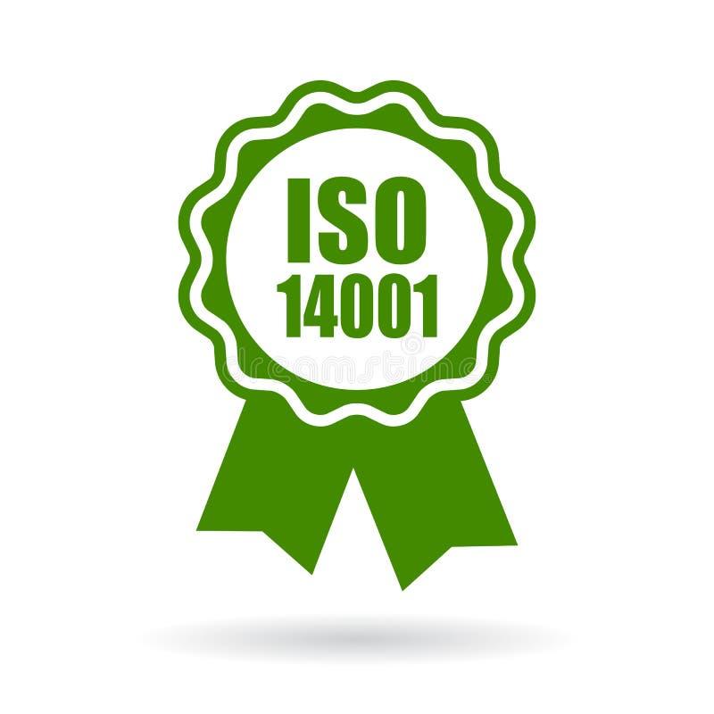 Значок Iso 14001 аттестованный зеленый иллюстрация вектора