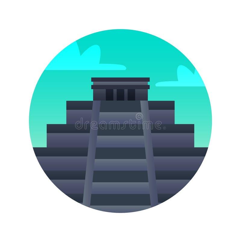 Значок itza Chichen плоский Ориентир Мексика исторических видимостей иллюстрация штока