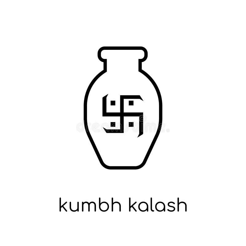 Значок kalash Kumbh Ультрамодное современное плоское линейное kalash Kumbh вектора иллюстрация вектора